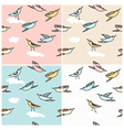 Flying birds in a seamless pattern vector