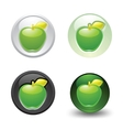 Green apple button set web 20 icons vector