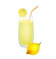 Glass of lemon juice and fresh lemons vector