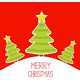 Three christmas trees a snowy hill merry christmas vector