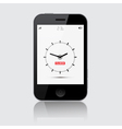 Smartphone with clock on grey background vector