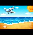 An airplane at the beach vector