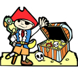 Pirate with treasure chest vector