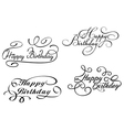 Happy birthday calligraphic embellishments vector