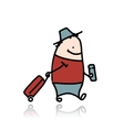 Man with suitcase and ticket cartoon vector
