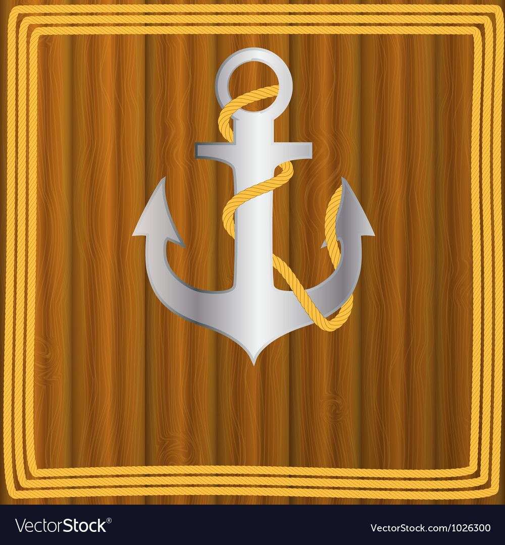 Anchor stencil on wooden background vector   Price: 1 Credit (USD $1)