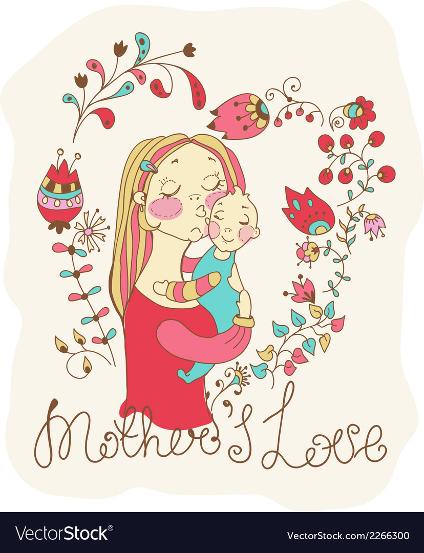 Color background with mother and baby and flowers vector | Price: 1 Credit (USD $1)