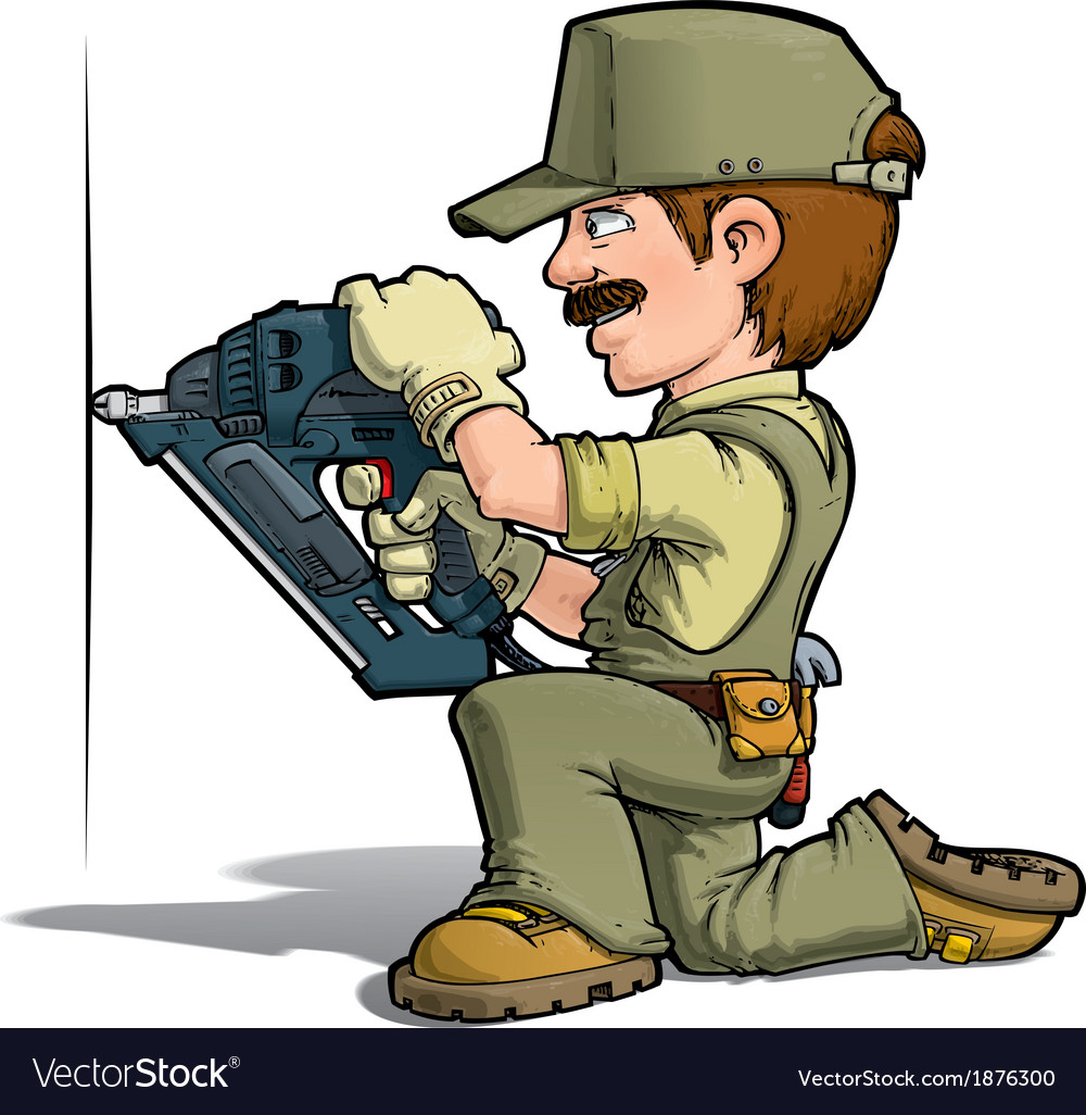 Handyman nailing khaki vector | Price: 3 Credit (USD $3)