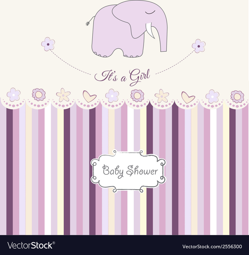 Romantic baby girl announcement card vector   Price: 1 Credit (USD $1)