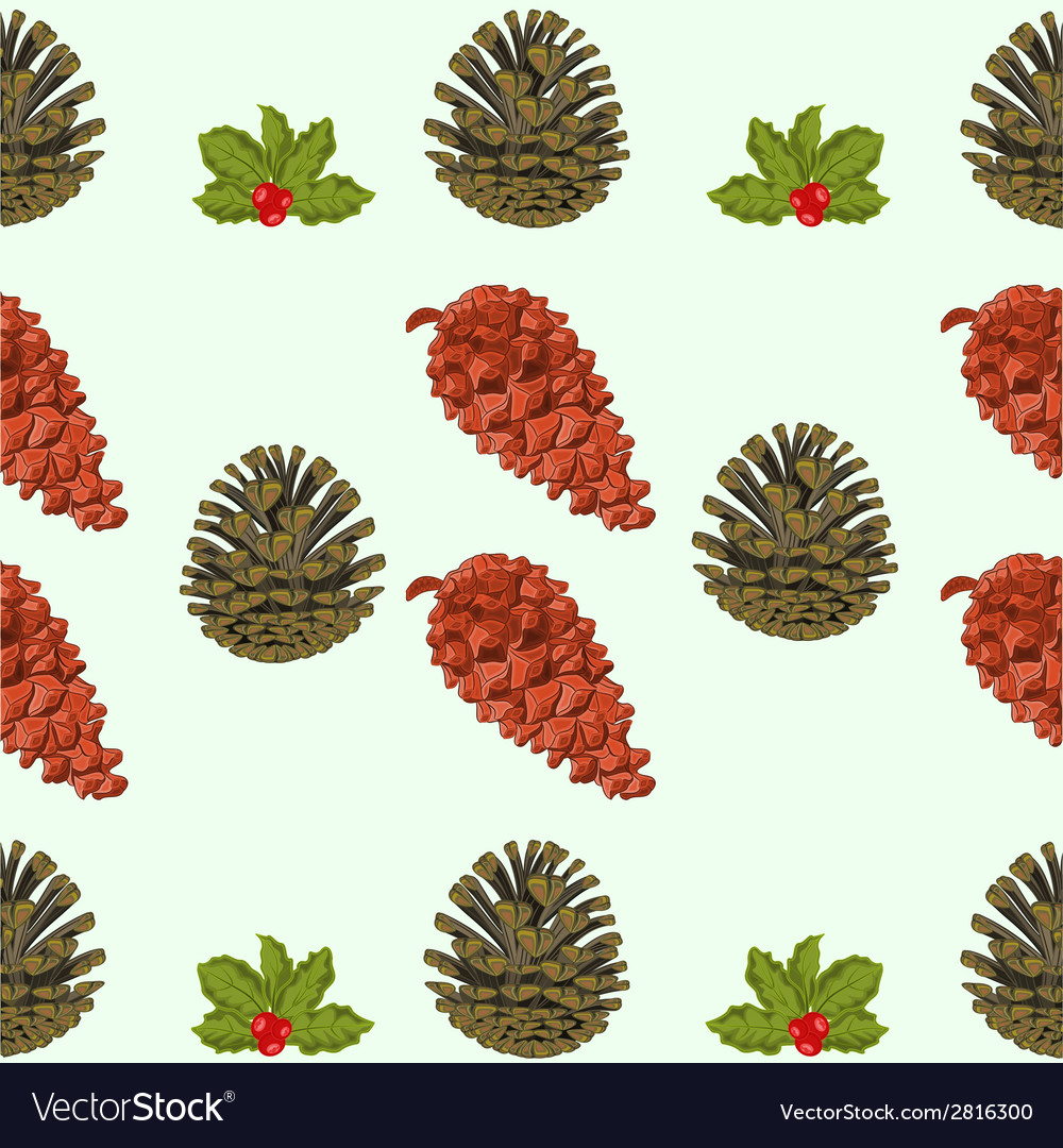 Seamless texture of pine cones and berries christm vector | Price: 1 Credit (USD $1)