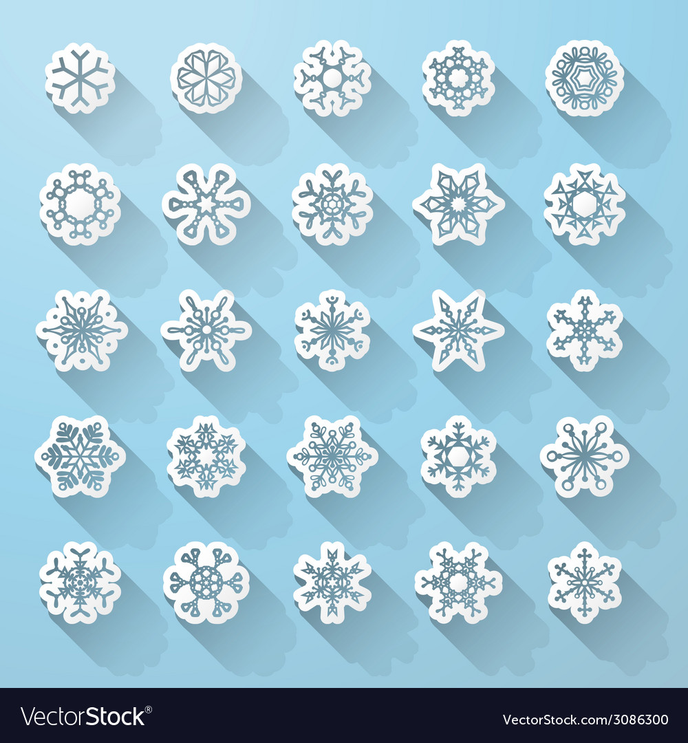 Set of flat snowflake icons with long shadow vector | Price: 1 Credit (USD $1)
