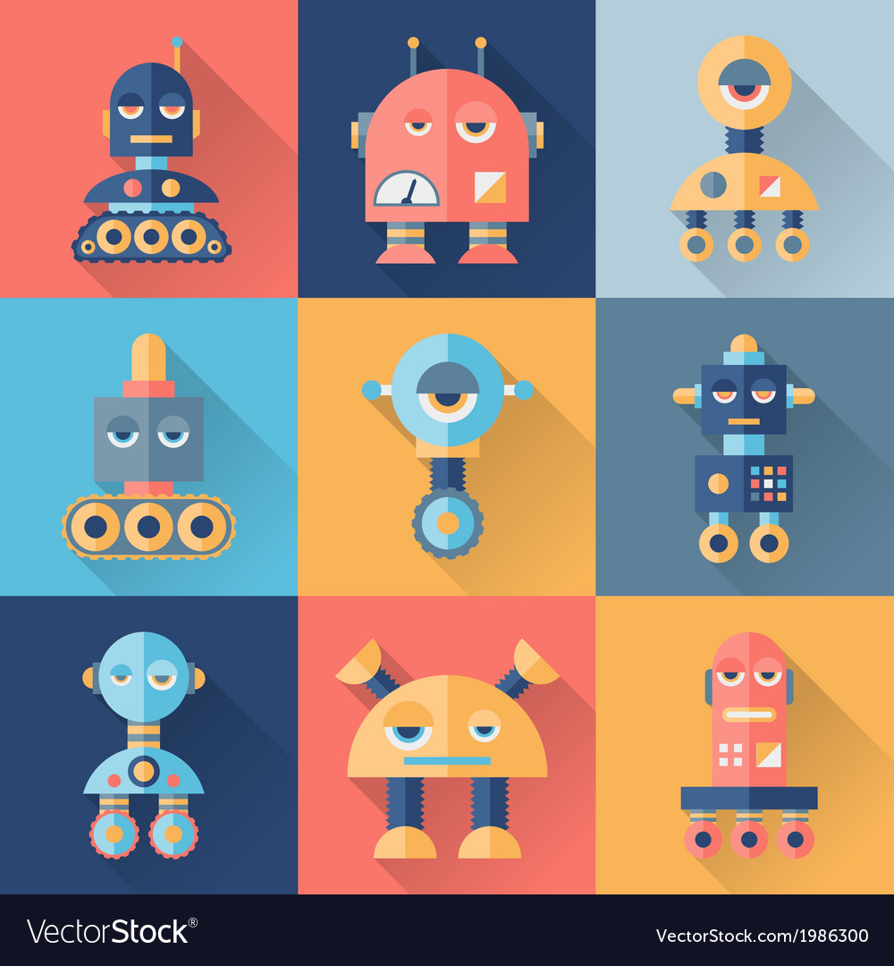 Set of robots in flat style vector | Price: 1 Credit (USD $1)