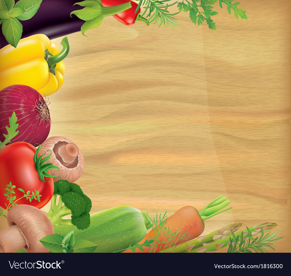 Wooden board with vegetables vector | Price: 1 Credit (USD $1)