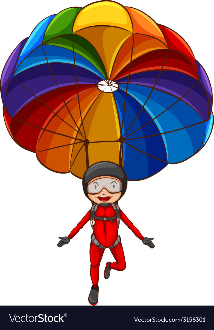 A simple sketch of a girl with a parachute vector | Price: 1 Credit (USD $1)
