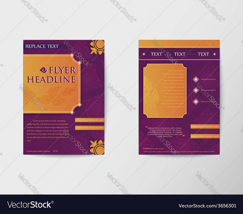 Abstract brochure flyer thai style template in a4 vector | Price: 1 Credit (USD $1)