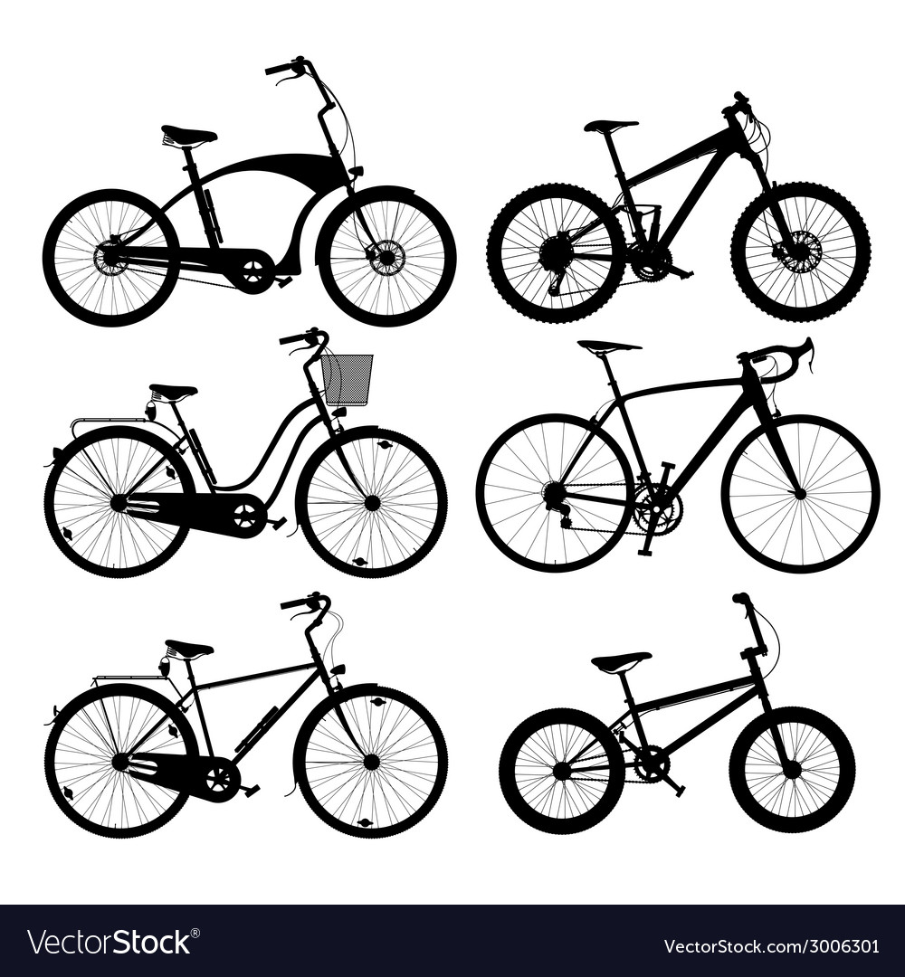 Bicycle silhouettes vector | Price: 1 Credit (USD $1)