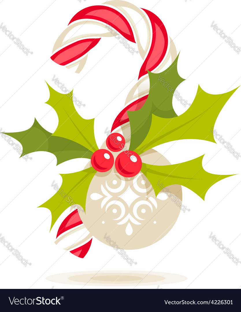 Candy cane and holly vector | Price: 1 Credit (USD $1)
