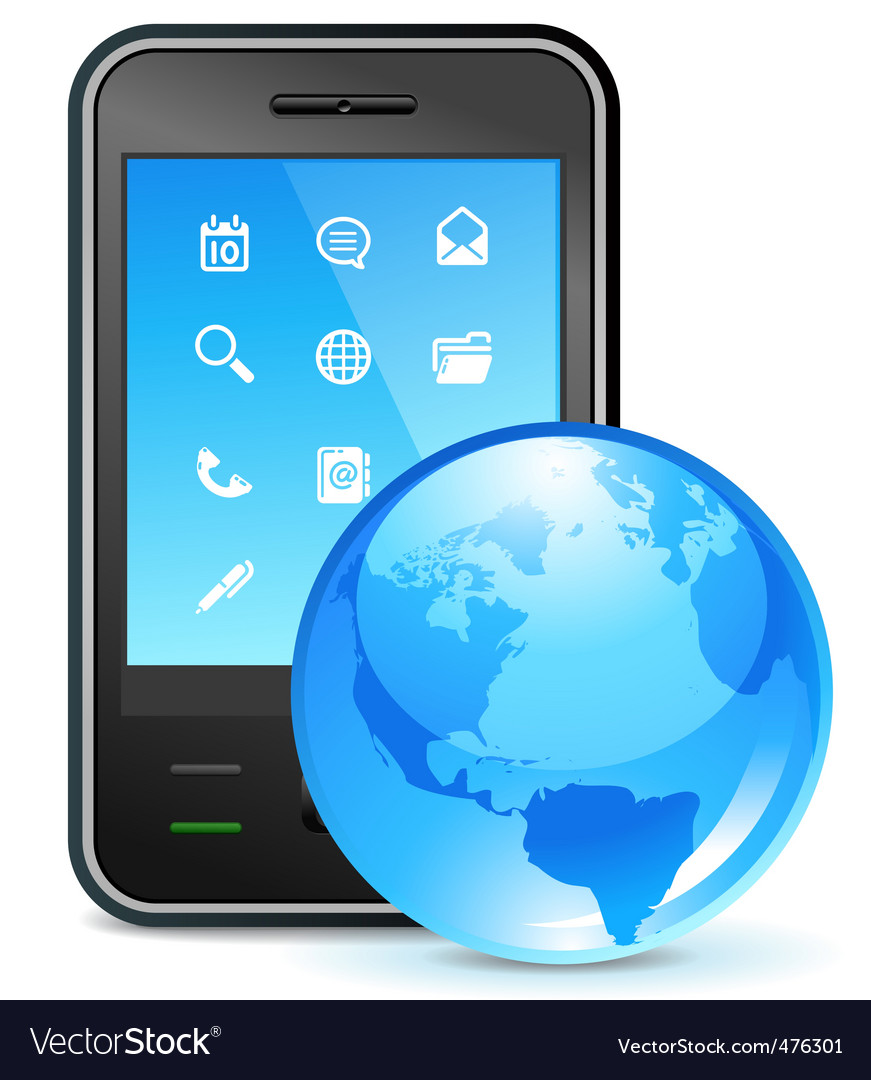 Global business on phone vector | Price: 1 Credit (USD $1)
