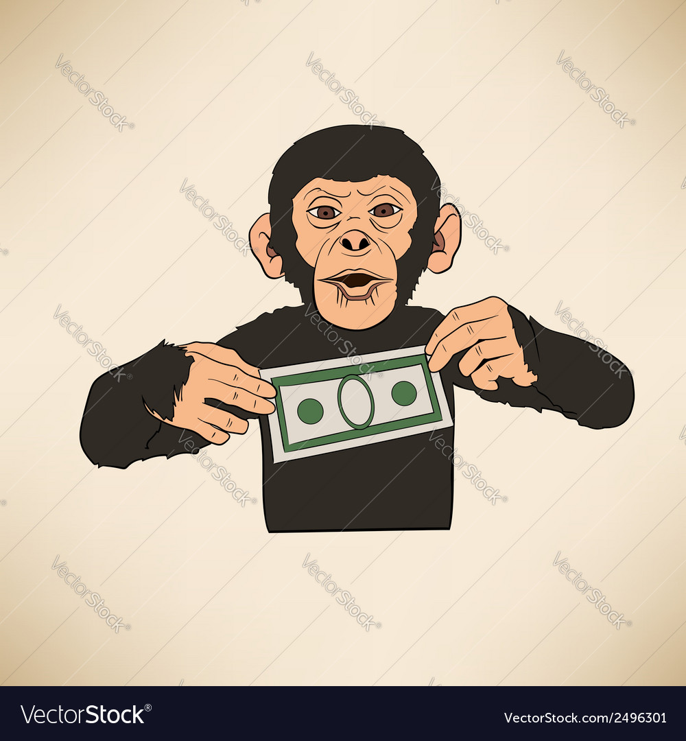 Monkey with dollar vector | Price: 1 Credit (USD $1)