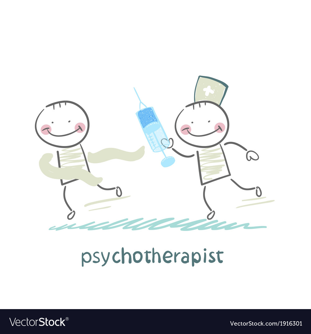 Psychotherapist with a syringe catching up with vector | Price: 1 Credit (USD $1)