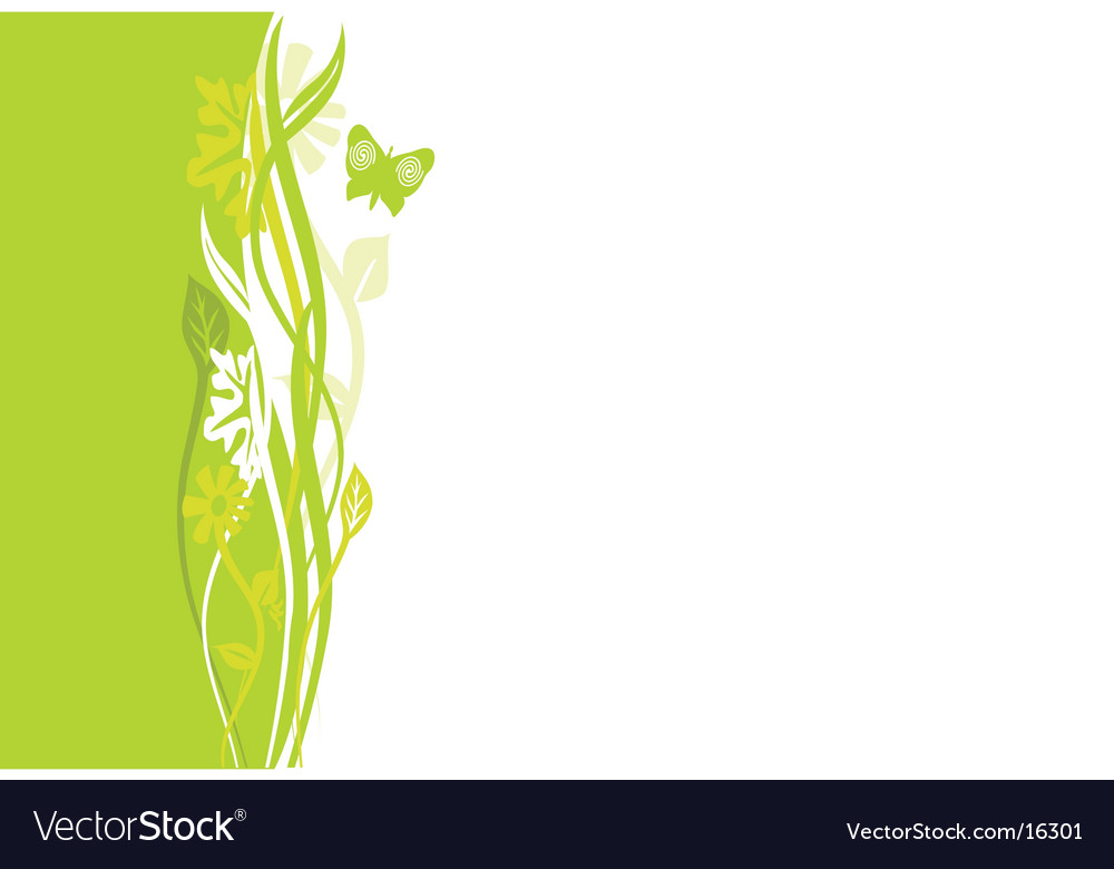 Swirly green floral border vector | Price: 1 Credit (USD $1)