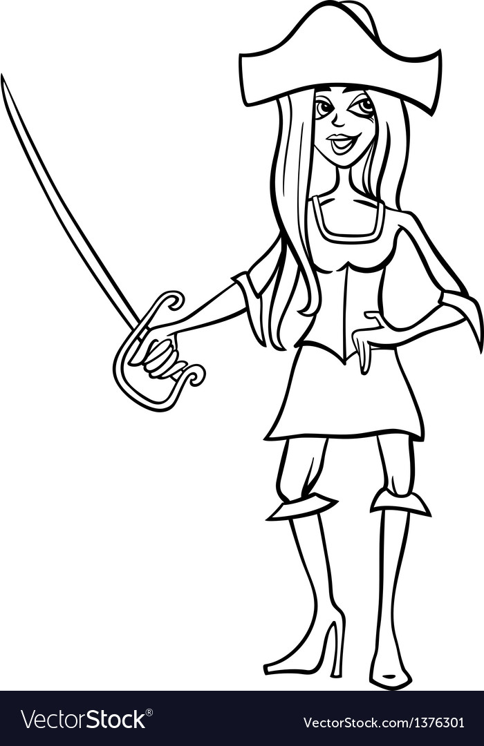 Woman pirate cartoon for coloring book vector | Price: 1 Credit (USD $1)