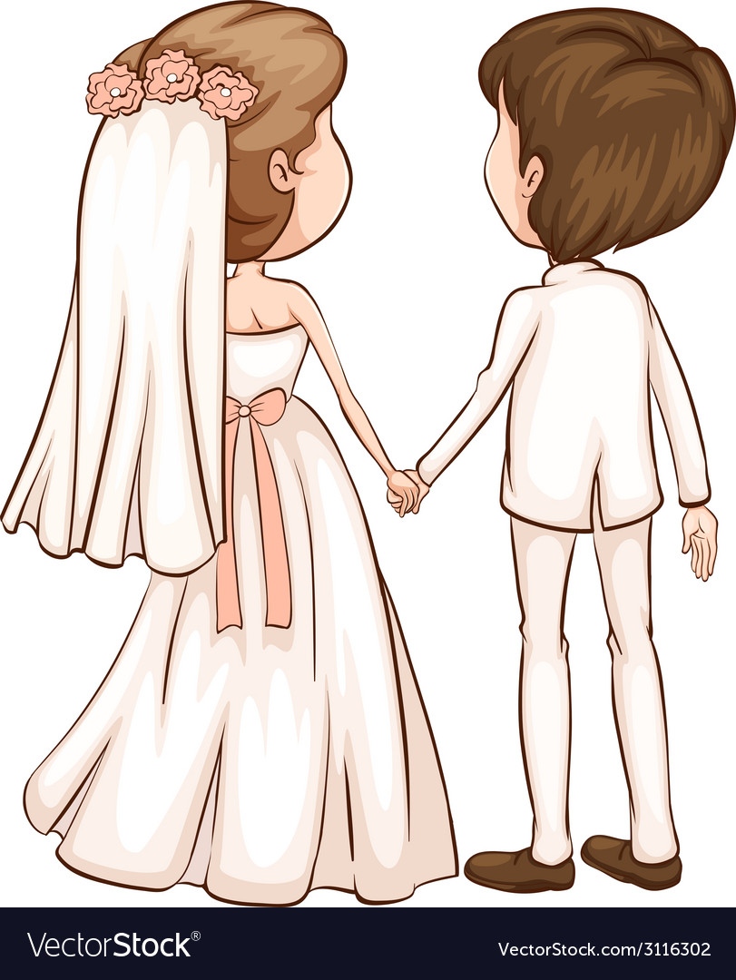 A simple sketch of a newly wed couple vector | Price: 1 Credit (USD $1)