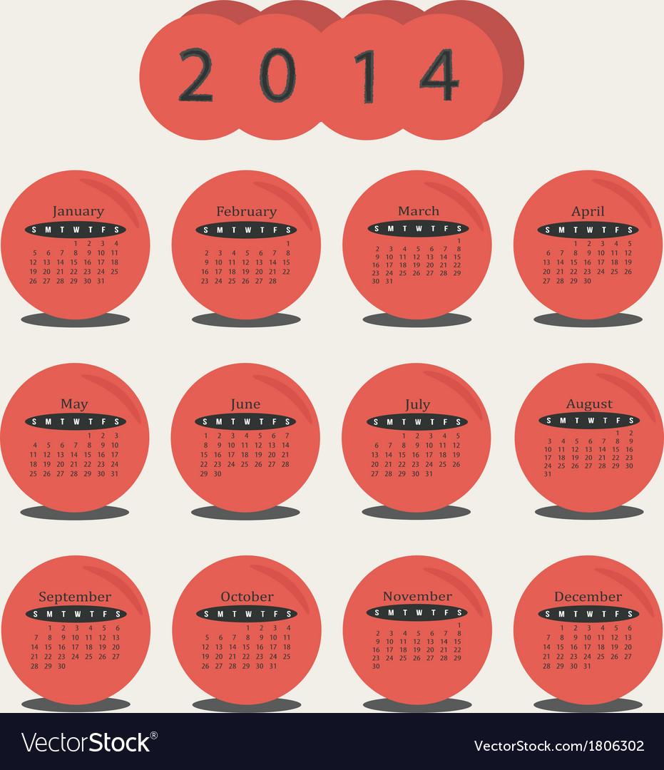Calendar 2014 red circle vector   Price: 1 Credit (USD $1)