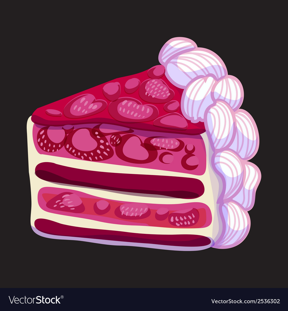 Delicious piece of strawberry cake vector | Price: 1 Credit (USD $1)