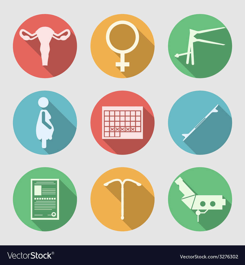 Flat icons for obstetrics and gynecology vector | Price: 1 Credit (USD $1)