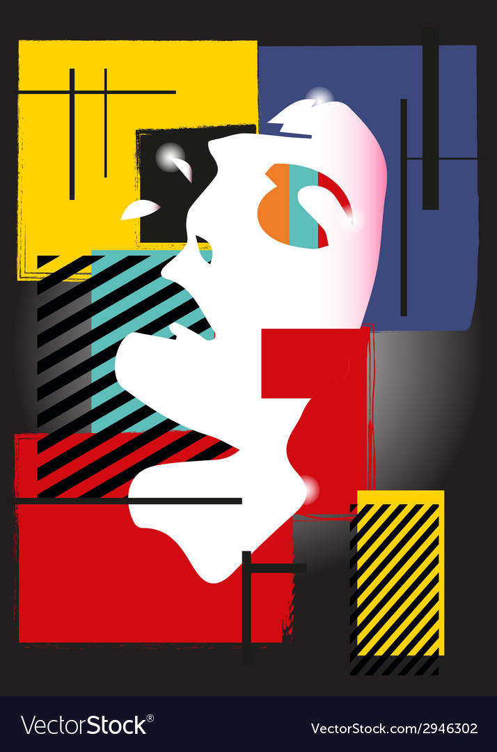 The girl in style of a cubism vector | Price: 1 Credit (USD $1)