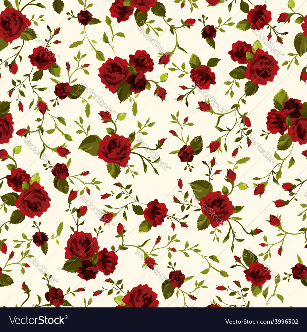 Seamless floral pattern with red roses on light vector | Price: 1 Credit (USD $1)