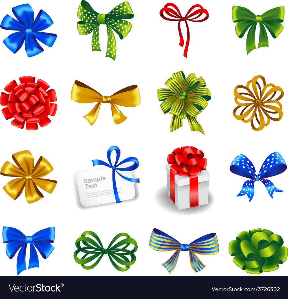 Set of gift bows with ribbons vector | Price: 1 Credit (USD $1)
