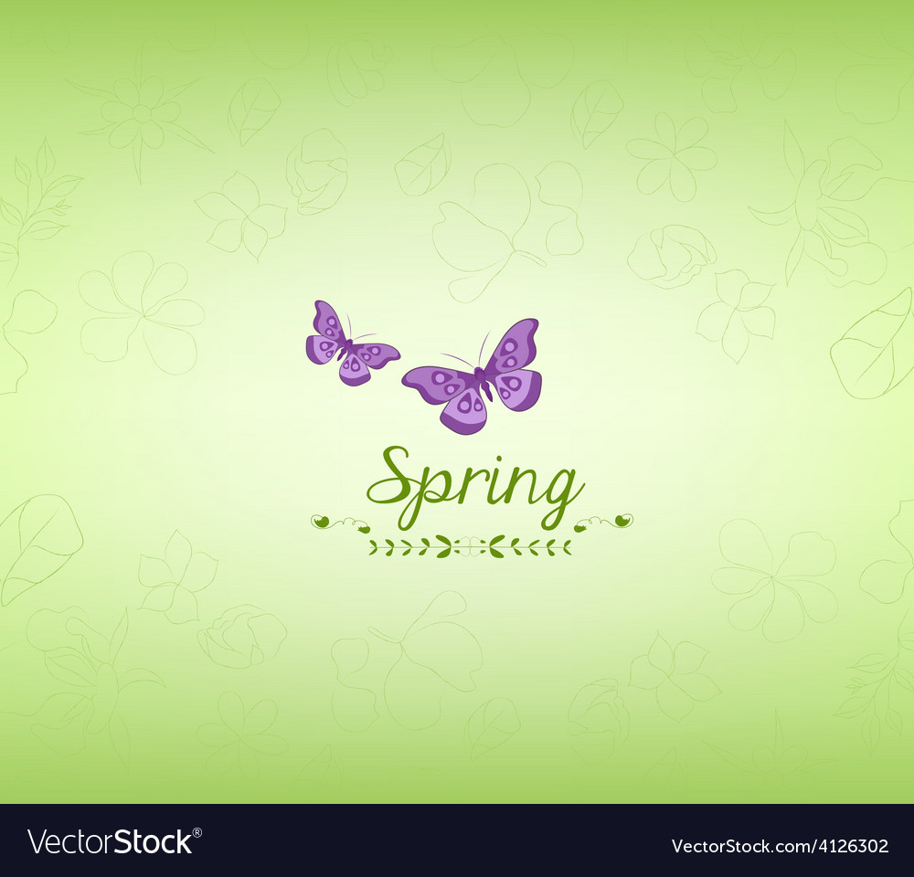Spring green and butterfly background vector | Price: 1 Credit (USD $1)
