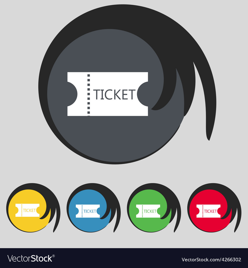 Ticket icon sign symbol on five colored buttons vector | Price: 1 Credit (USD $1)