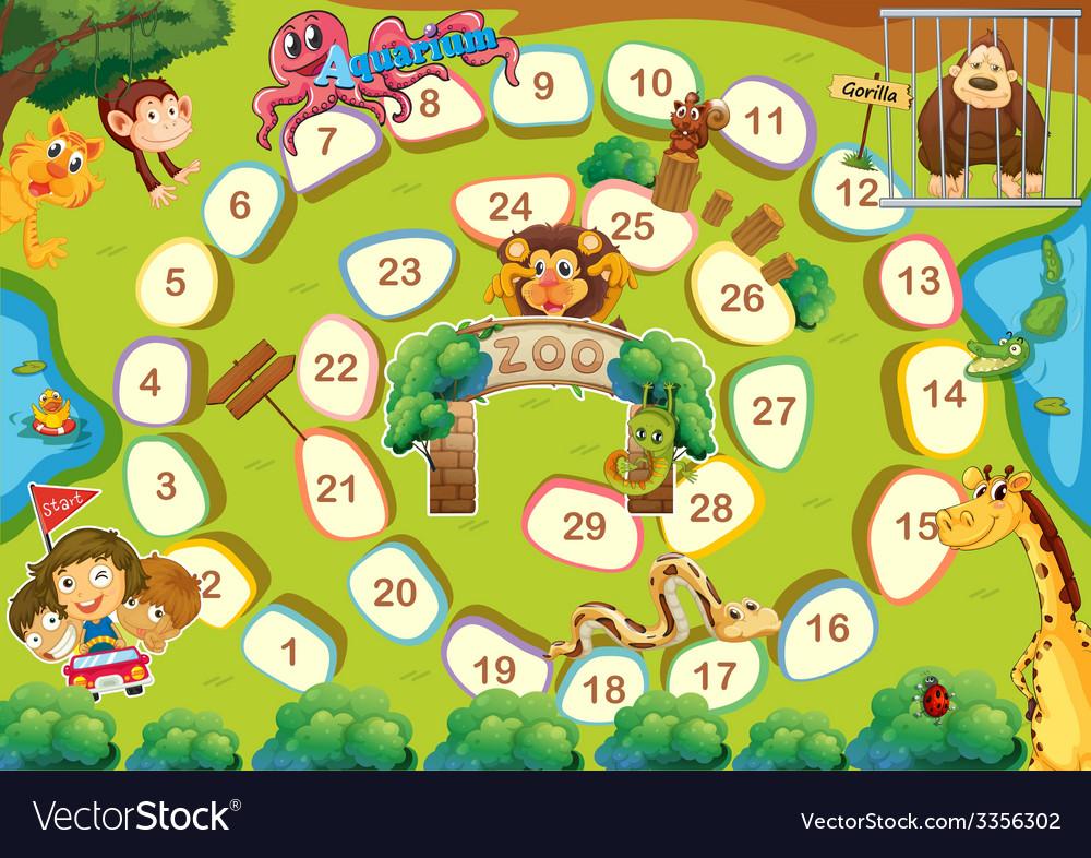 Zoo theme boardgame vector | Price: 1 Credit (USD $1)