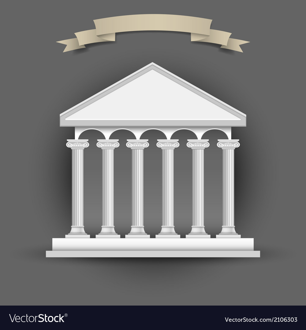 Bank building with banner ribbon for text vector | Price: 1 Credit (USD $1)