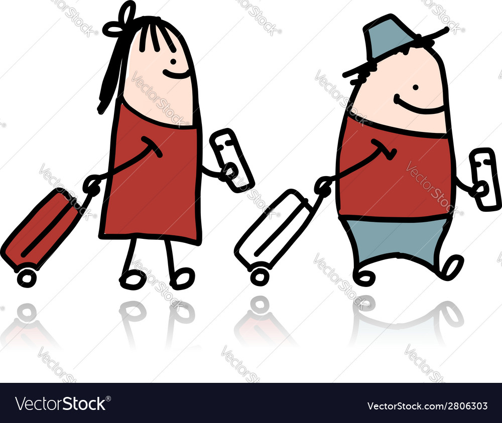 Couple with suitcases and tickets cartoon vector | Price: 1 Credit (USD $1)