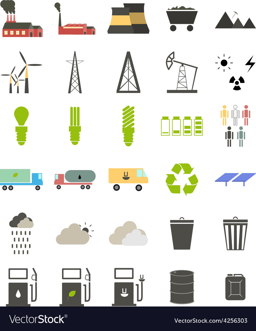 Flat icons on the theme of ecology vector   Price: 1 Credit (USD $1)