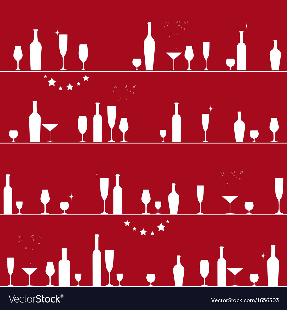 Holiday seamless pattern with glasses and bottles vector | Price: 1 Credit (USD $1)