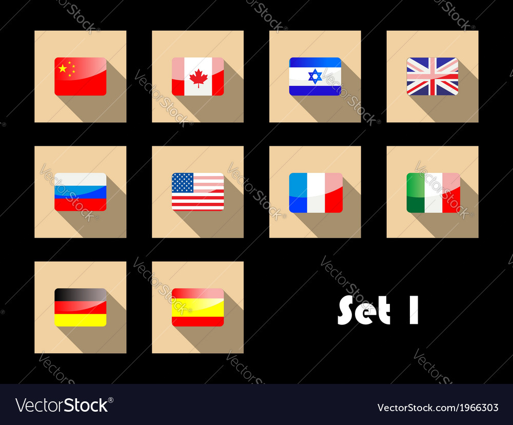 International country flags on flat icons vector | Price: 1 Credit (USD $1)