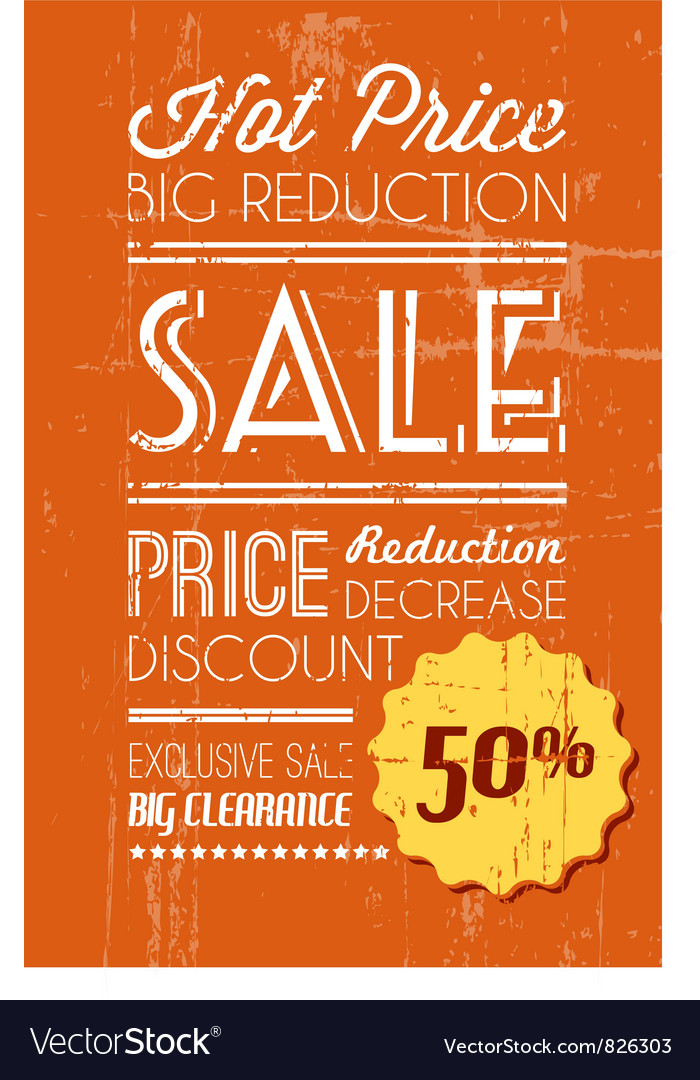 Retro sale background orange vector | Price: 1 Credit (USD $1)