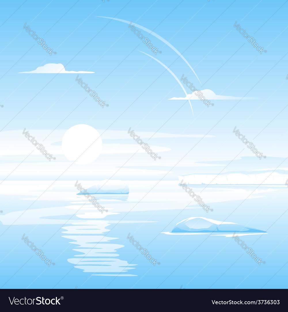 Sea with small icebergs landscape vector | Price: 1 Credit (USD $1)