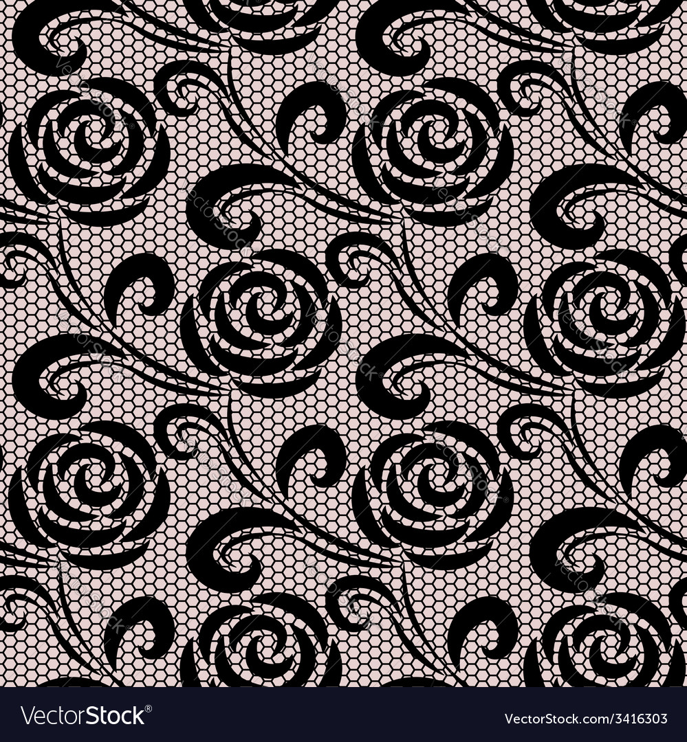 Seamless black retro roses lace pattern vector | Price: 1 Credit (USD $1)