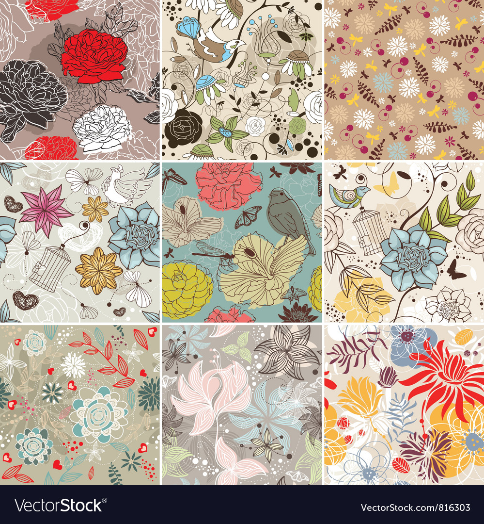Seamless floral background vector | Price: 1 Credit (USD $1)