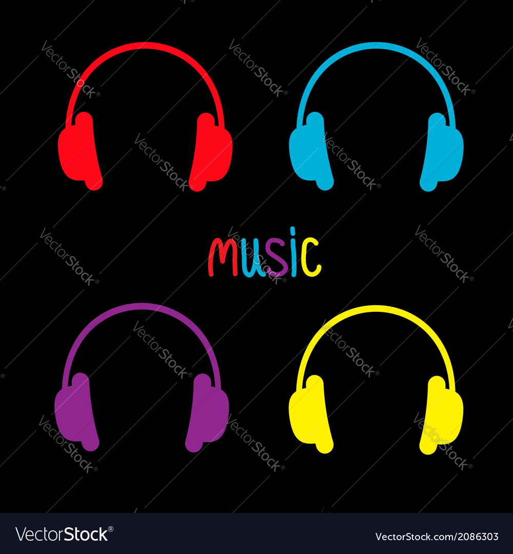 Set of headphones and colorful word music card vector | Price: 1 Credit (USD $1)
