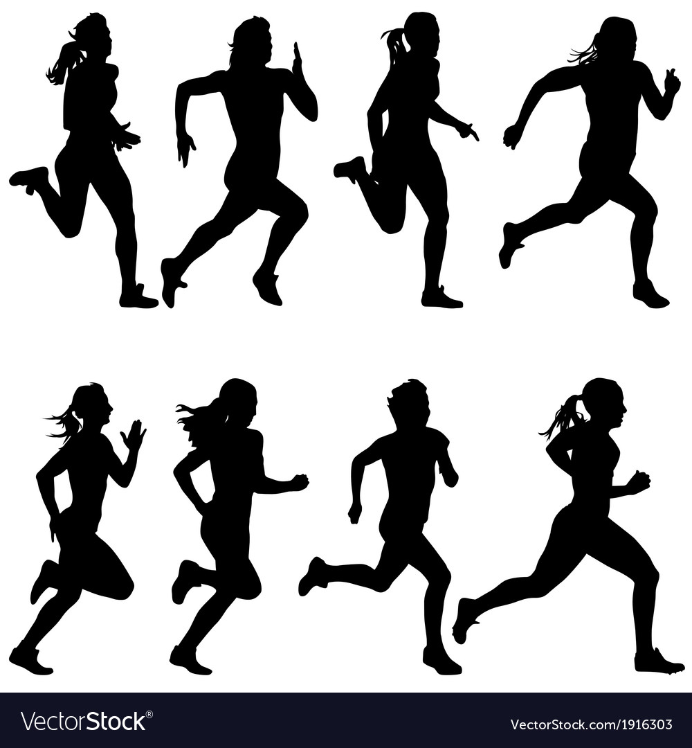 Set of silhouettes runners on sprint women vector | Price: 1 Credit (USD $1)