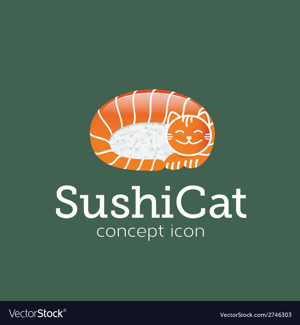 Sushi cat concept symbol icon or logo template vector | Price: 1 Credit (USD $1)