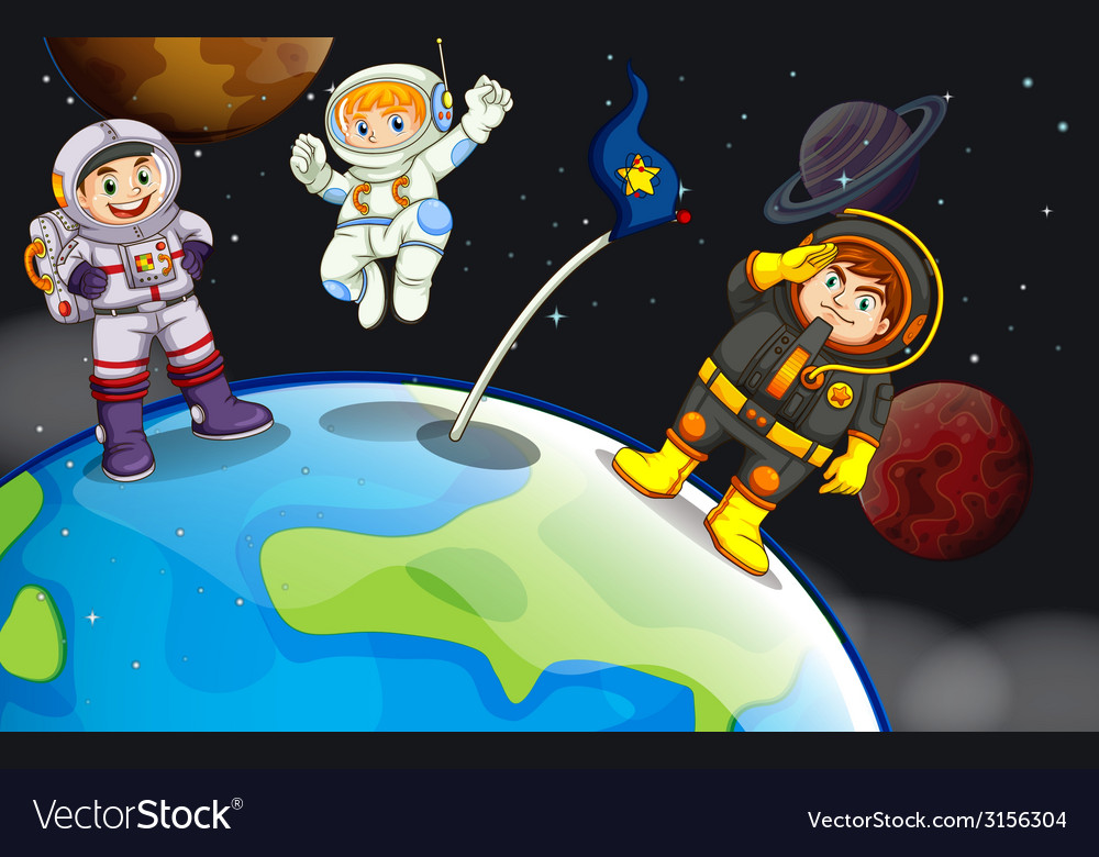 A group of astronauts in the outerspace vector | Price: 3 Credit (USD $3)