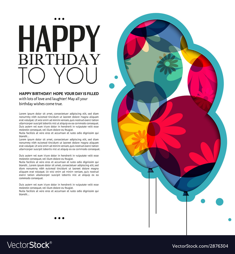 Birthday card with color balloons flowers and text vector | Price: 1 Credit (USD $1)
